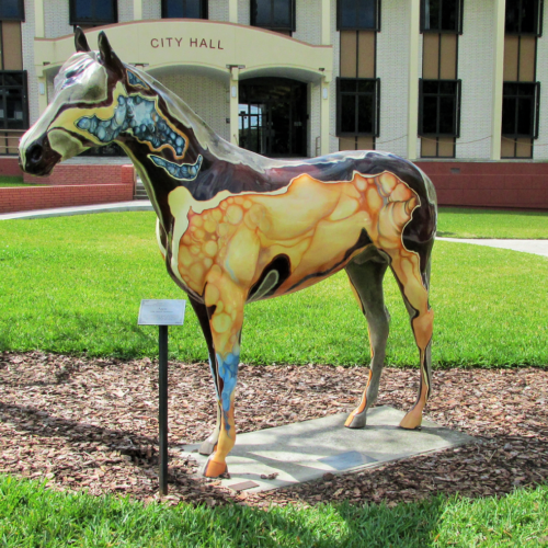 Aggie by Carlynne Hershberger in front of City Hall